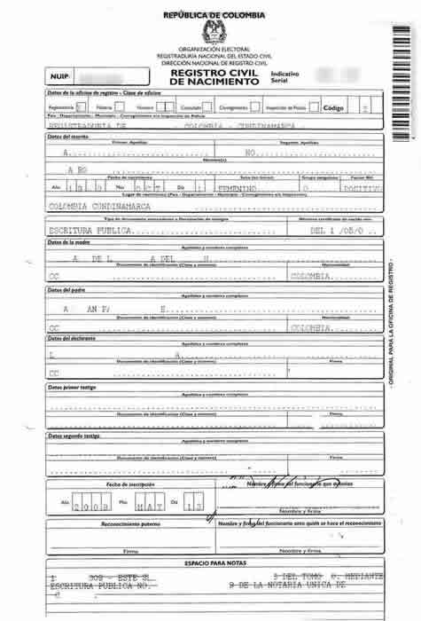 Colombian birth certificate translations mexican birth certificates styles and examples of common colombian birth certificates yadclub Images