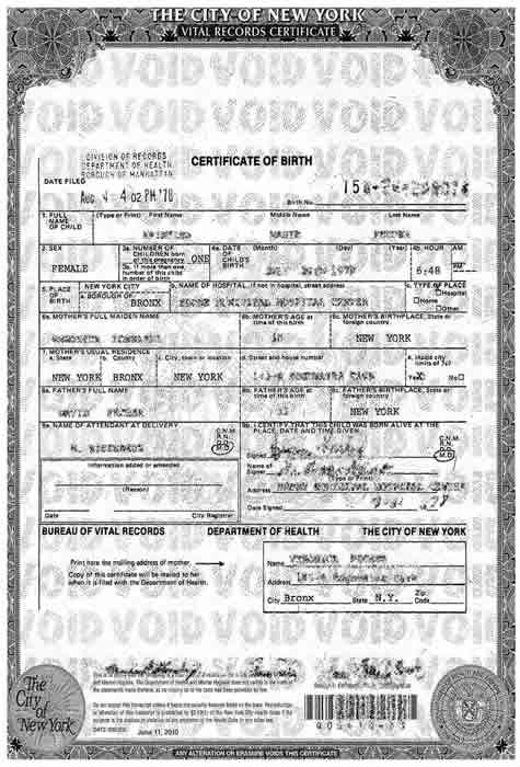English To Spanish Transalation - US Birth Certificate