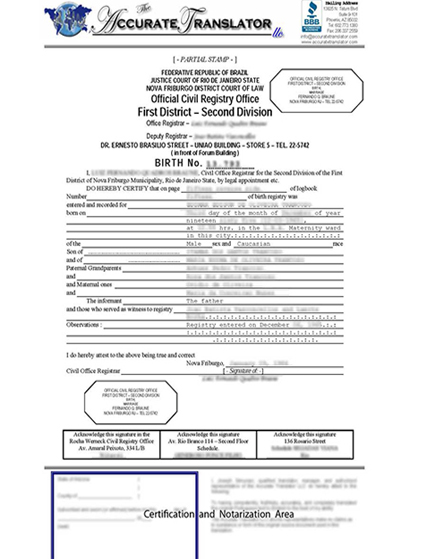 Sample birth certificate birth certificate translation of public birth certificate translation of public legal documents yadclub Images
