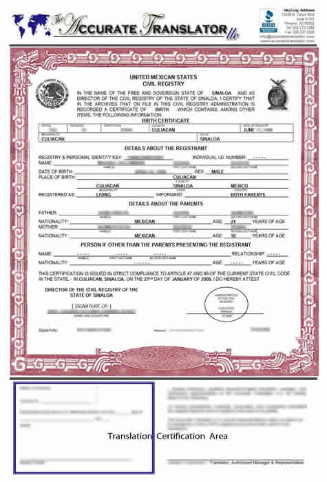 Birth certificate translation of public legal documents birth certificate mexico state of sinaloa notice the reproduction of the border stamps and seals is not just for show but allows for points of yadclub Images